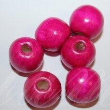 medk0145 apie 17 mm, apvali forma, rožinė spalva, medinis karoliukas, 13 vnt.