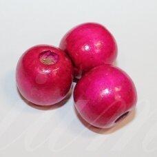 medk0355 apie 16-17 mm, apvali forma, rožinė spalva, medinis karoliukas, 12 vnt.