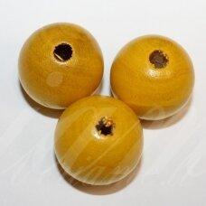medk0163 apie 24 mm, apvali forma, geltona spalva, medinis karoliukas, 3 vnt.