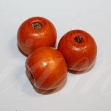 medk0357 apie 20 mm, apvali forma, oranžinė spalva, medinis karoliukas, 9 vnt.