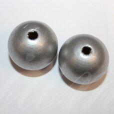 medk0165 apie 24 mm, apvali forma, pilka spalva, medinis karoliukas, 2 vnt.