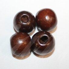 MEDK0166 apie 19 mm, apvali forma, ruda spalva, mediniai karoliukai, 7 vnt.