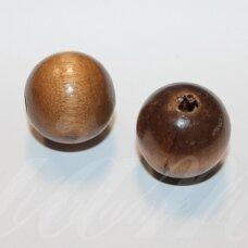 medk0169 apie 25 mm, apvali forma, ruda spalva, medinis karoliukas, 2 vnt.