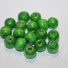 MEDK0175 apie 8-10 mm, apvali forma, žalia spalva, medinis karoliukas, 40 vnt.