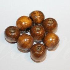 medk0311 apie 13 mm, apvali forma, ruda spalva, medinis karoliukas, apie 25 vnt.