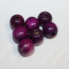 medk0302 apie 12-14 mm, apvali forma, violetinė spalva, medinis karoliukas, apie 30 vnt.