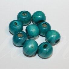 medk0313 apie 10 mm, apvali forma, žydra spalva, medinis karoliukas, apie 64 vnt.