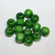 medk301 apie 8-10 mm, apvali forma, žalia spalva, medinis karoliukas, apie 65 vnt.