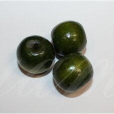 medk306 apie 17-19 mm, apvali forma, tamsi, žalia spalva, medinis karoliukas, 9 vnt.