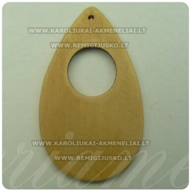 med0051 apie 70 x 42 x 4 mm, gelsva spalva, lašo forma, pakabukas, 1 vnt.
