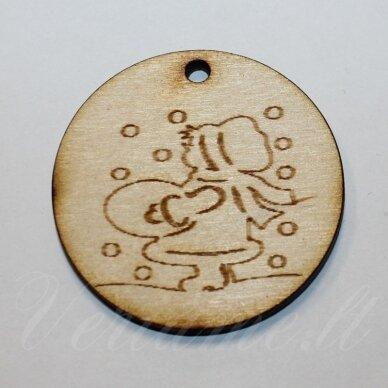 med0062 apie 50 x 4 mm, apvali forma, medinis pakabukas, 1 vnt.