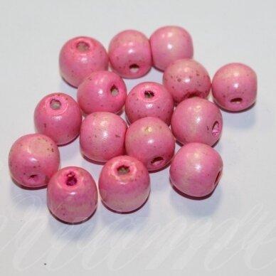 medk0047 apie 13 mm, apvali forma, šviesi, rožinė spalva, medinis karoliukas, apie 15 vnt.
