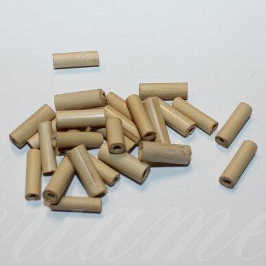 medk0091-14 apie 14 x 4 mm, cilindro forma, šviesi, ruda spalva, medinis karoliukas, apie 20 g.