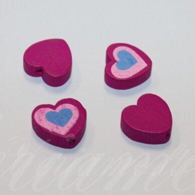medk0113 apie 16x17x6 mm, širdutės forma, marga, rožinė spalva, medinis karoliukas, 4 vnt.