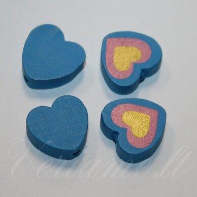 medk0114 apie 16x17x6 mm, širdutės forma, marga, mėlyna spalva, medinis karoliukas, 4 vnt.