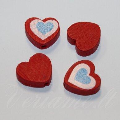 medk0116 apie 16x17x6 mm, širdutės forma, marga, raudona spalva, medinis karoliukas, 4 vnt.