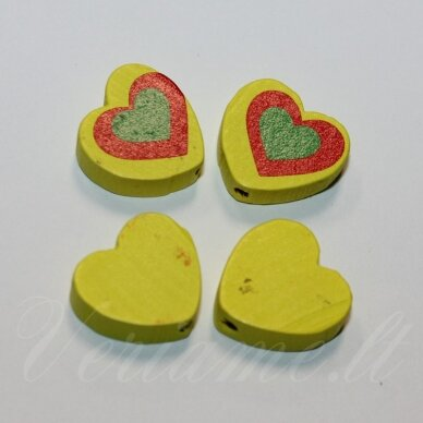 medk0117 apie 16x17x6 mm, širdutės forma, marga, geltona spalva, medinis karoliukas, 4 vnt.