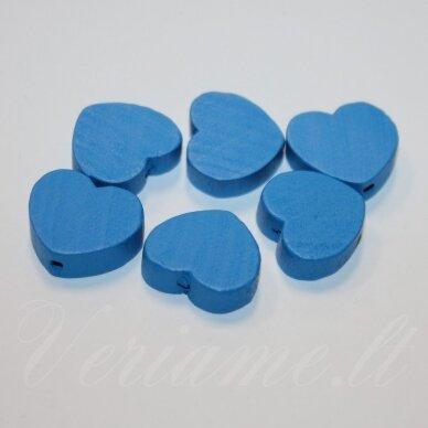 medk0119 apie 16x19x6 mm, širdutės forma, mėlyna spalva, medinis karoliukas, 6 vnt.