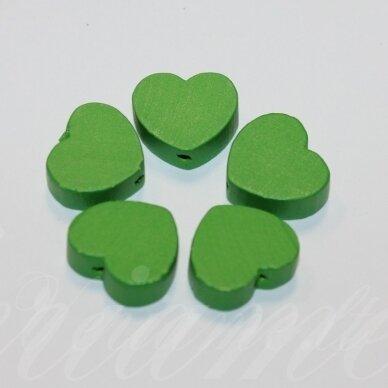 medk0120 apie 16x19x6 mm, širdutės forma, žalia spalva, medinis karoliukas, 6 vnt.