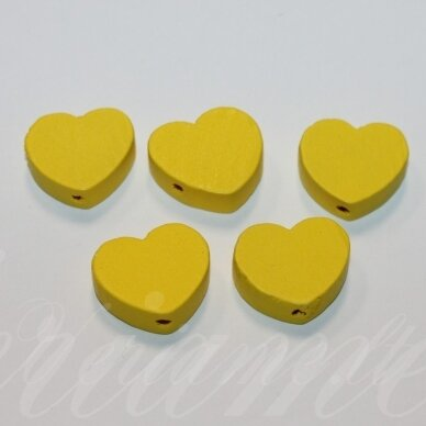 medk0121 apie 16x19x6 mm, širdutės forma, geltona spalva, medinis karoliukas, 6 vnt.