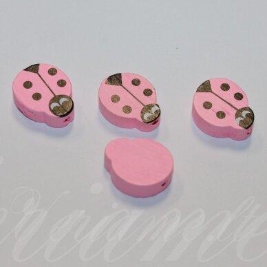 medk0125 apie 19x15x6 mm, boružės forma, šviesi, rožinė spalva, medinis karoliukas, 4 vnt.