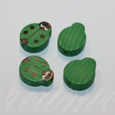 medk0130 apie 19x15x6 mm, boružės forma, žalia spalva, medinis karoliukas, 4 vnt.