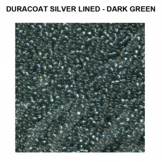 Miyuki Round Seed Beads Rocailles 11/0 (2mm) Duracoat Silver Lined - Dark Green (8.5g tube)