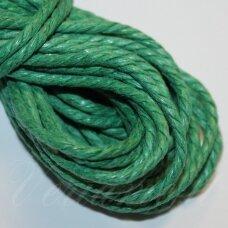 mpv0010 apie 3 mm, žalia spalva, pinta, medvilninė virvutė, 5 m.