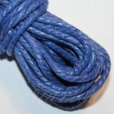 mpv0011 apie 3 mm, mėlyna spalva, pinta, medvilninė virvutė, 5 m.