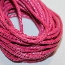 mpv0018 apie 2 mm, rožinė spalva, pinta, medvilninė virvutė, 5 m.