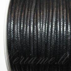 mv0005 apie 1 mm, juoda spalva, medvilninė virvutė, 5 m.