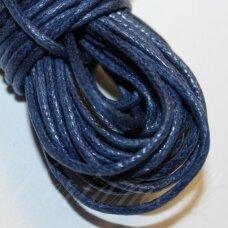 mv0030 apie 1 mm, tamsi, mėlyna spalva, medvilninė virvutė, 5 m.