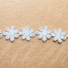 nj0120 apie 13 mm, balta spalva, nėriniuota juostelė, 1 m.