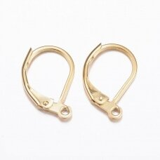 nplausk0001 304 Stainless Steel Leverback Earring Findings, with Loop, Golden, 15.5x10x1.5mm, Hole: 1.5mm, 6 pcs.