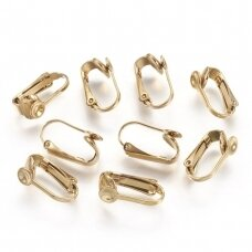 nplausk0002 Vacuum Plating 304 Stainless Steel Clip-on Earring Findings, Golden, 16x7.5x10mm, 4 pcs.