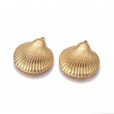 nplpak0001 apie 27x24.5~24.7x6.6~6.7mm, skylė 1.6mm, nerūdijančio plieno, pakabukas, aukso spalva, 1 vnt.