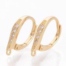 nplausk0007 apie 16x11x2.5mm, skylė 1mm, žalvarinis, dengtas auksu, su cirkonio akutėmis, auskaro detalė, 2 vnt.