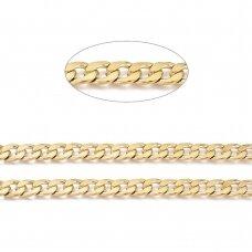 nplgr0002 apie 10x7x1.8mm, aukso spalva, nerūdijančio plieno grandinėlė, 1 m.