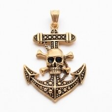 nplpak0002 Retro Antique Golden Plated 304 Stainless Steel Anchor with Pirate Style Skull Big Pendants, 53x37.5x7mm, Hole: 5.5x8mm, 1 pcs.