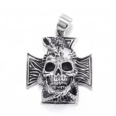 nplpak0015 316 Stainless Steel Pendants, Cross with Skull, Antique Silver, 44x38x16mm, Hole: 8x11mm, 1 pcs.