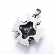 nplpak0015 apie 44x38x16mm, skylė 8x11mm, nerūdijančio plieno, pakabukas, sendinto sidabro spalva, 1 vnt.