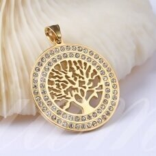 nplpak0019 304 Stainless Steel Pendants, with Rhinestones, Flat Round with Tree of Life, Golden, 43.5x40x3mm, Hole: 5.5x8.5mm, 1 pcs.