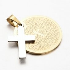 nplpak0020 304 Stainless Steel Flat Round and Cross Pendants, with Lord Prayer Padre Nuestro Cross, Golden, 30x1.5mm, Hole: 4.5x7mm, 1 pcs.