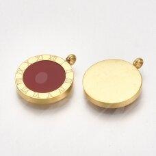 nplpak0036 apie 17x14x3mm, skylė 1.8mm, nerūdijančio plieno, pakabukas, aukso spalva, 1 vnt.
