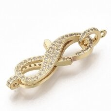 npluzs0001 Brass Micro Pave Clear Cubic Zirconia Lobster Claw Clasps, with Hanger Links, Number 8, Real 16K Gold Plated, 32x13x5.5mm, Hole: 1.8mm, 1 pcs.