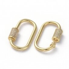 npluzs0015 apie 29.5x15x2.2mm, žalvarinis, dengtas auksu, su cirkonio akutėmis, užsegimas, 1 vnt.