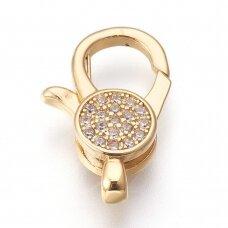 npluzs0020 apie 19x12x4.5mm, Hole: 1.5mm, žalvarinis, su cirkonio akutėmis, aukso spalva, užsegimas, 1 vnt.