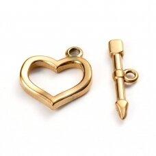 npluzs0038 apie širdelė: 20x18x3mm, pagaliukas: 23.5x6.5x2.5mm,, nerūdijančio plieno, aukso spalva, užsegimas, 1 vnt.