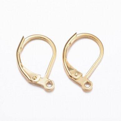 nplausk0001 apie 15.5x10x1.5mm, nerūdijančio plieno, auskaro detalė, aukso spalva, 6 vnt.