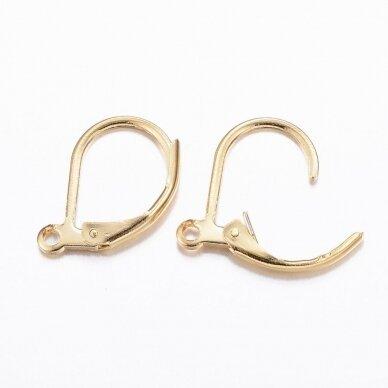 nplausk0001 apie 15.5x10x1.5mm, nerūdijančio plieno, auskaro detalė, aukso spalva, 6 vnt. 2